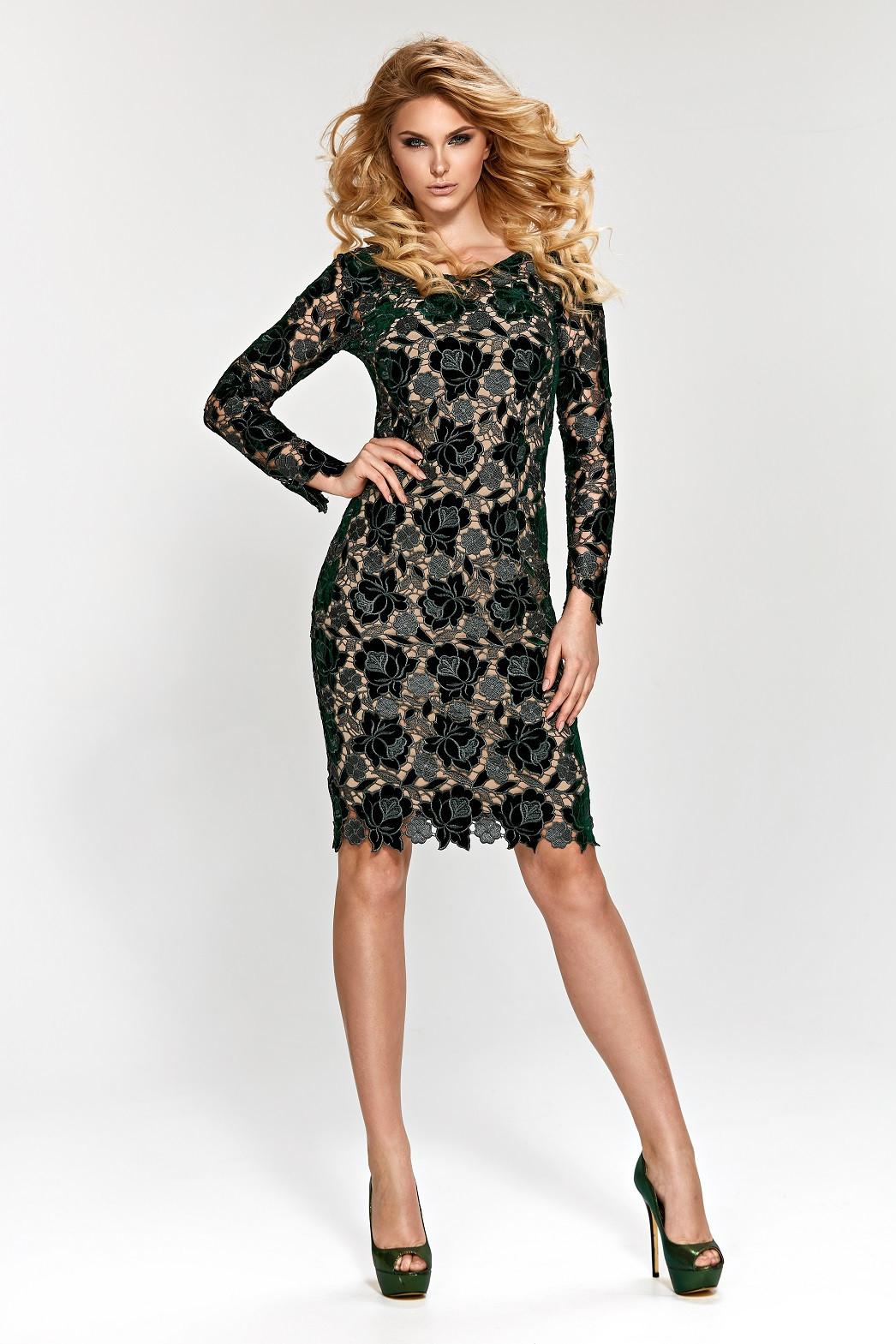 Dámské šaty 1656 Marselini Barva: tmavě zelená, Velikost: 52