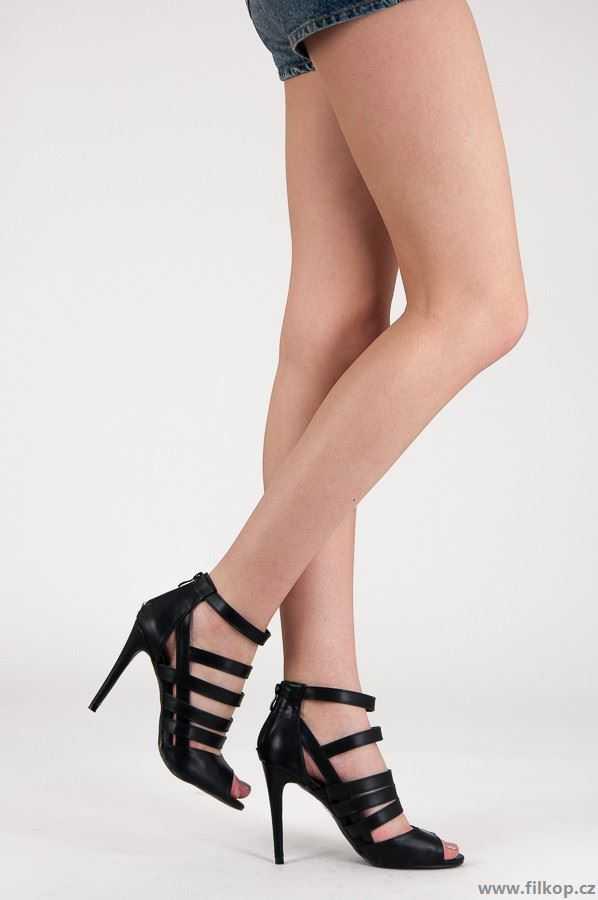 Dámské sandály na podpatku A945B / S3-68P - VICES Barva: černá, Velikost: 40