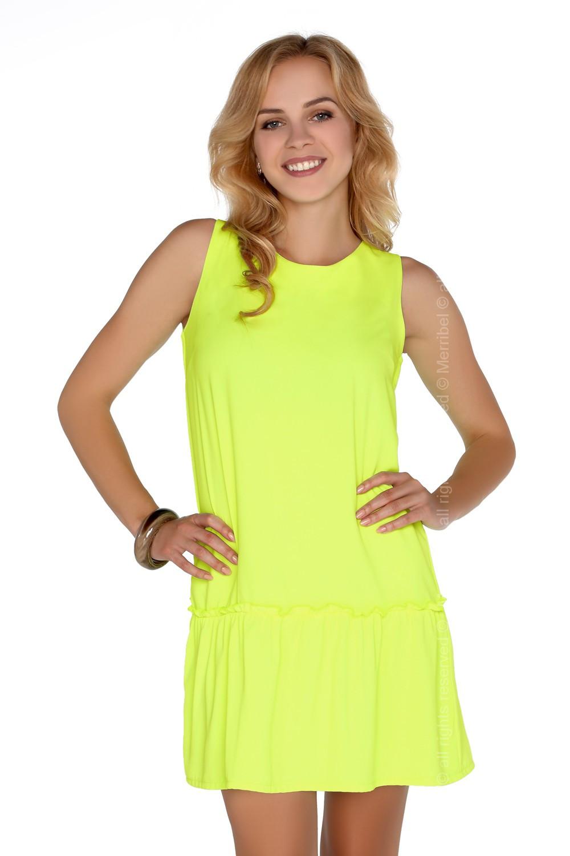 1547c61aff6 Dámské šaty model P30236 neon žlutá - Merribel žlutá neonová M