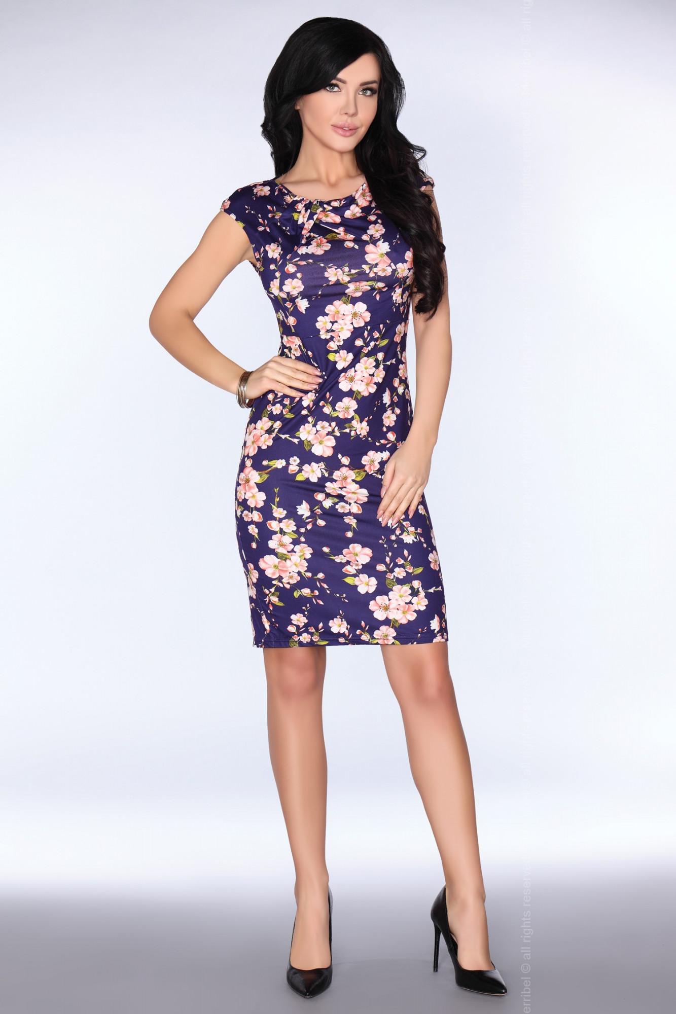 Dámské šaty model P30254 - Merribel Barva: modrá - květy, Velikost: L