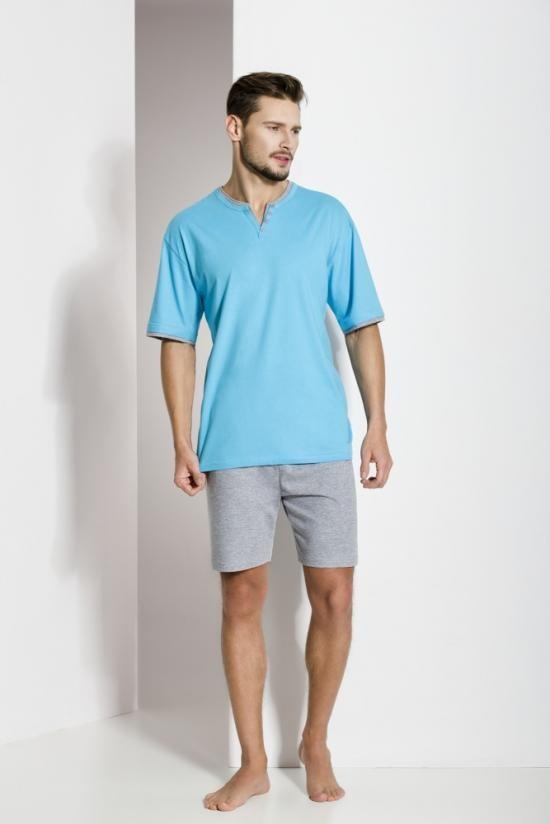Pánské pyžamo 496 - Regina Barva: tyrkys-šedá, Velikost: XXL