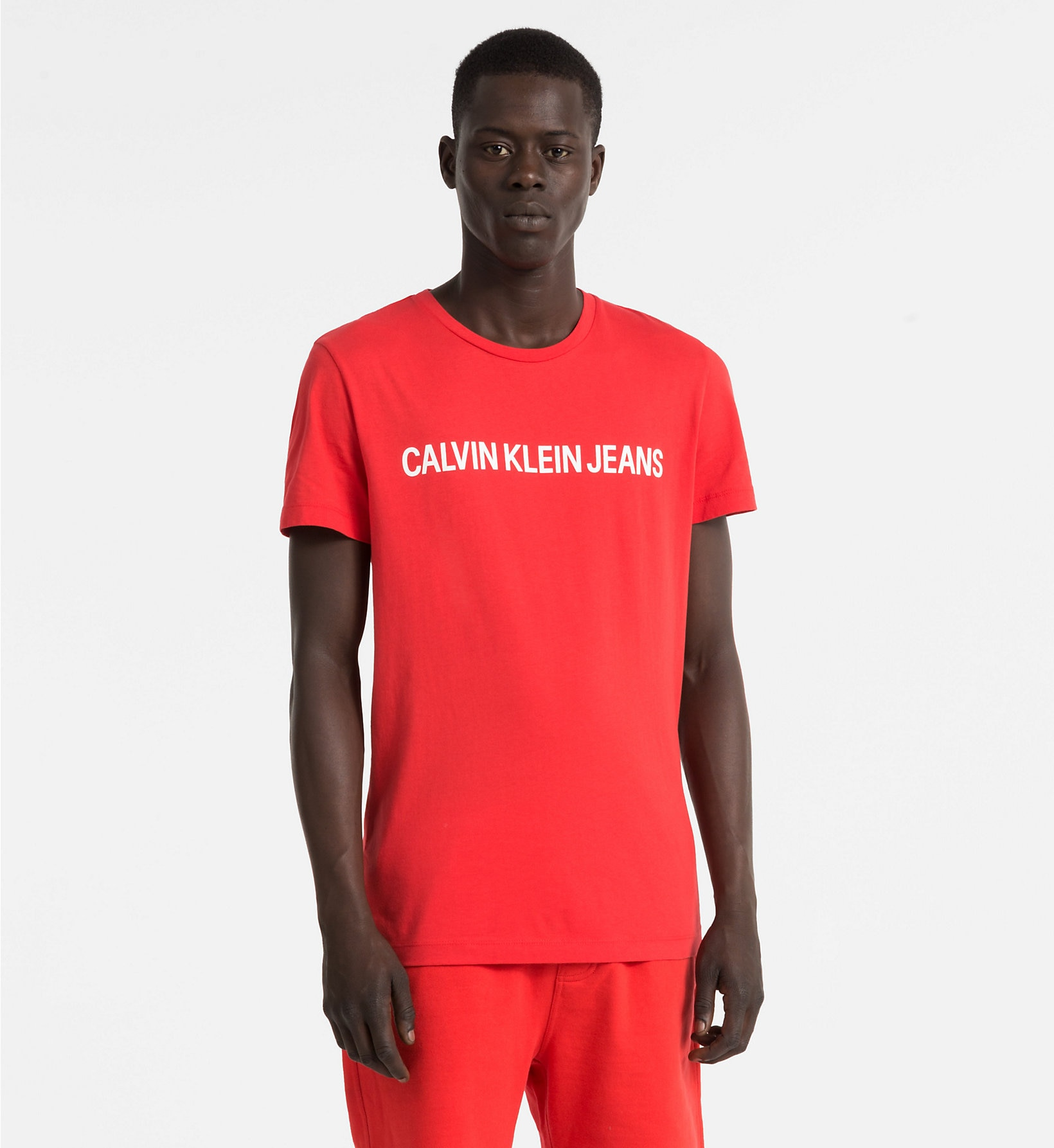 Pánské tričko OU38 červená - Calvin Klein Barva: červená, Velikost: S