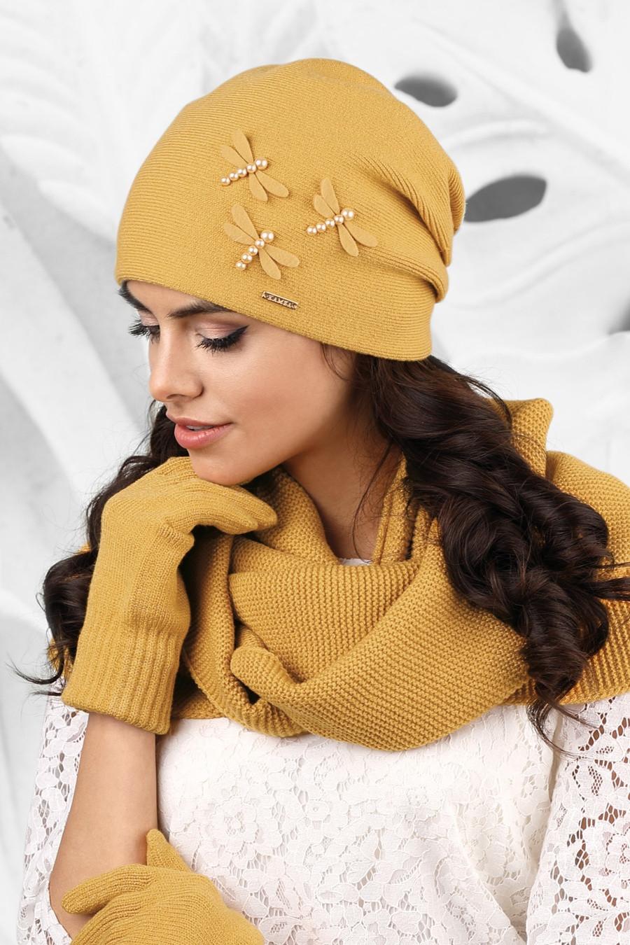 516b338a216 Dámská čepice model 164417 hořčicová - Kamea Barva  hořčicová