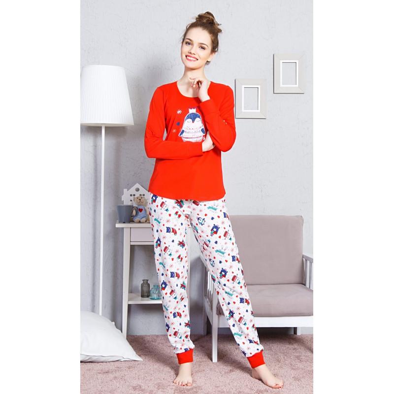 dc3692d7750 Dámské dlouhé pyžamo Tučňák s korunkou - Vienetta červená S