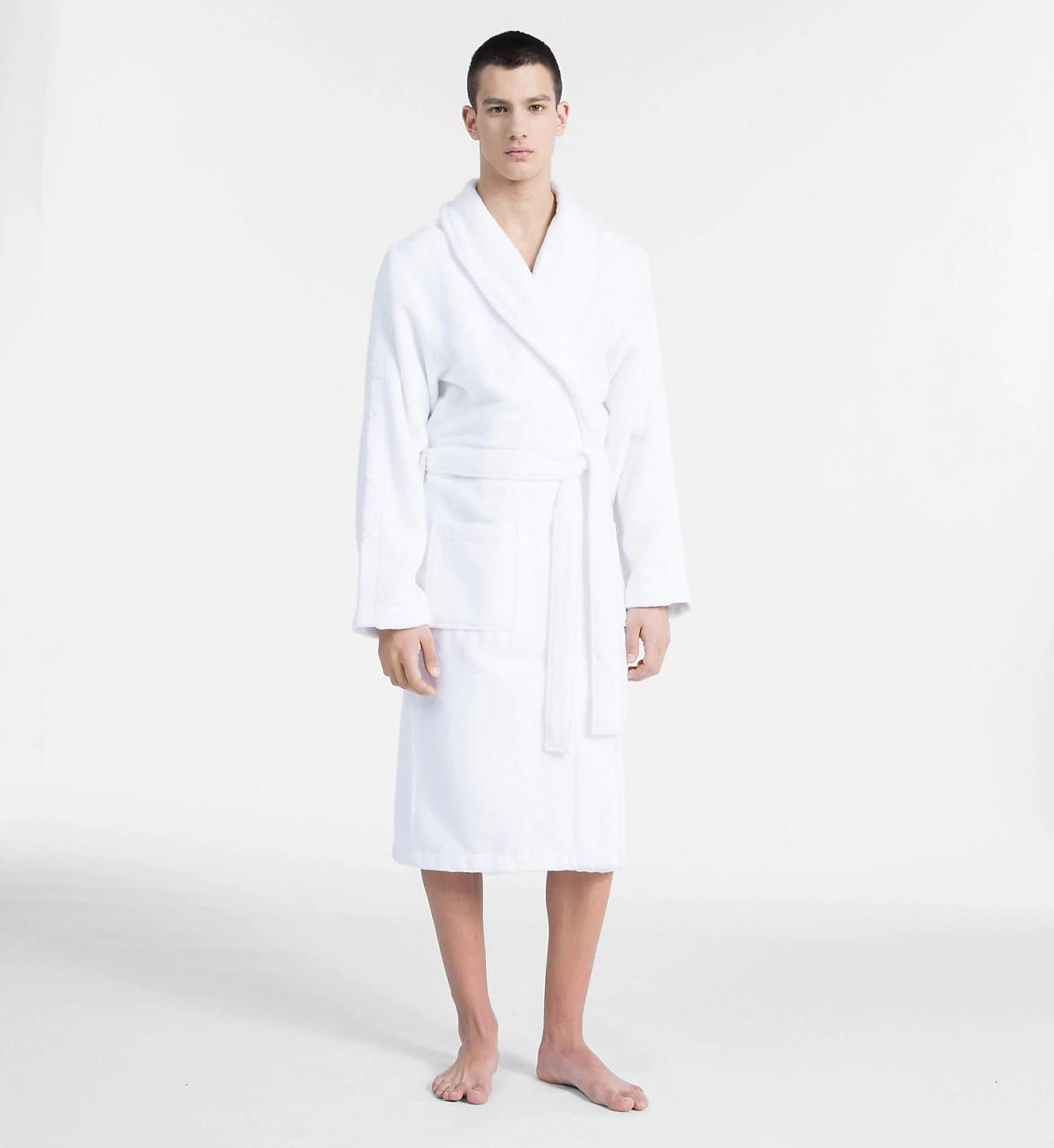 a7b8f7aa1d3a Pánský župan EM1159E-100 bílá - Calvin Klein bílá L XL