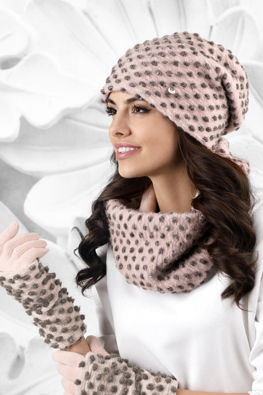 Dámský komplet GROSSETO - čepice + šála + rukavice růžová - Kamea růžová uni 4c208b1af7