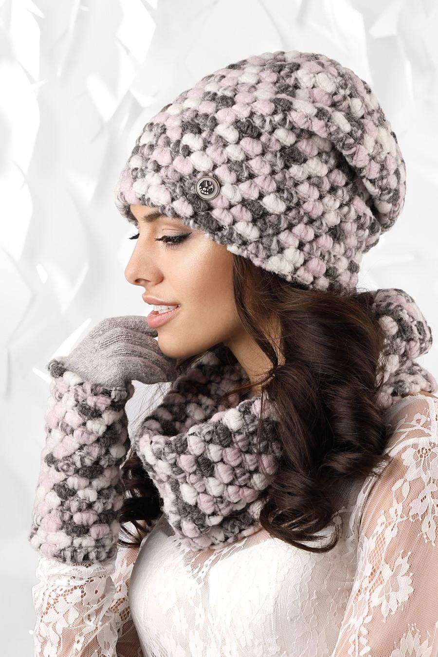 fde0fcb3738 Dámský komplet MERANO - čepice + šála + rukavice růžová - Kamea růžová uni