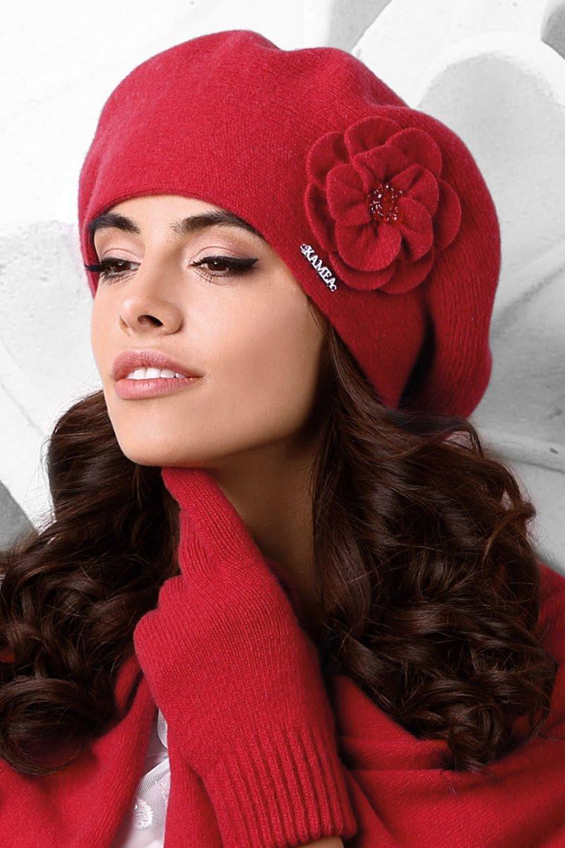 Dámský baret Vicenza červený - Kamea červená uni