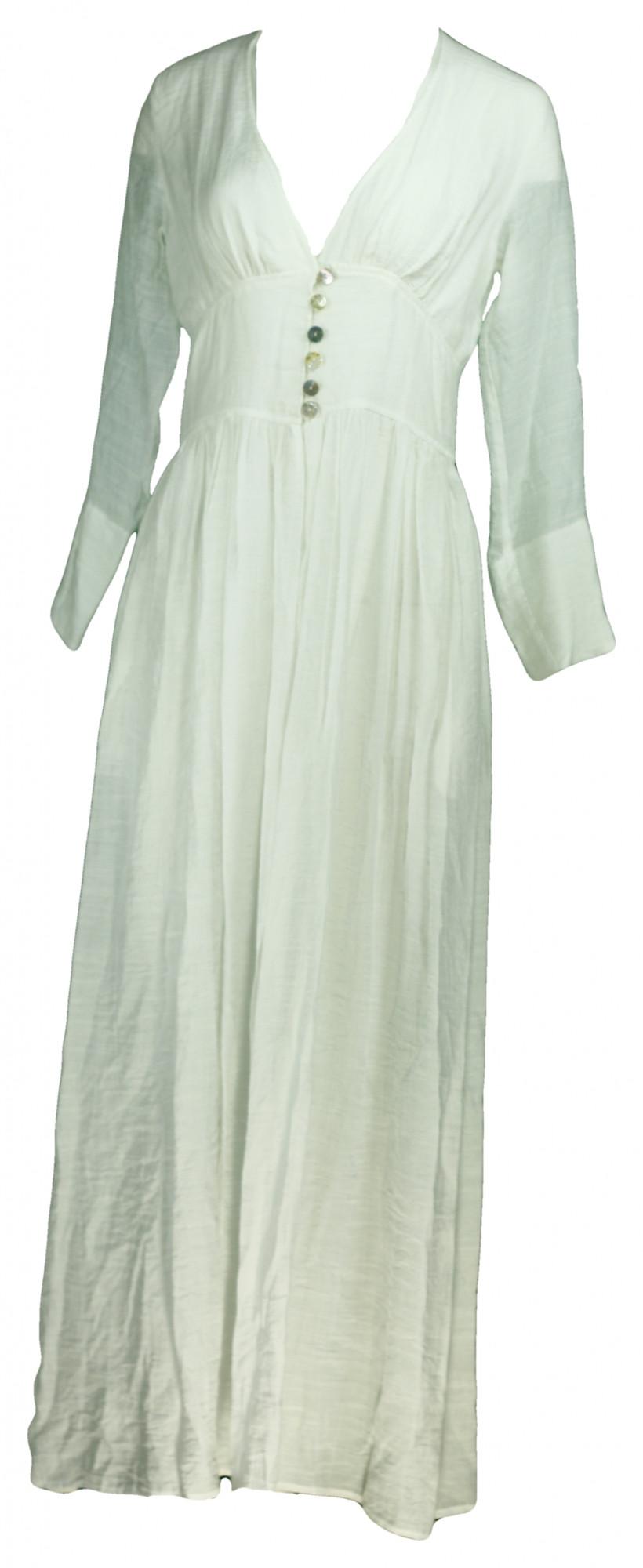 Dámské šaty propínací dlouhé 3670 - Maxin bílá S
