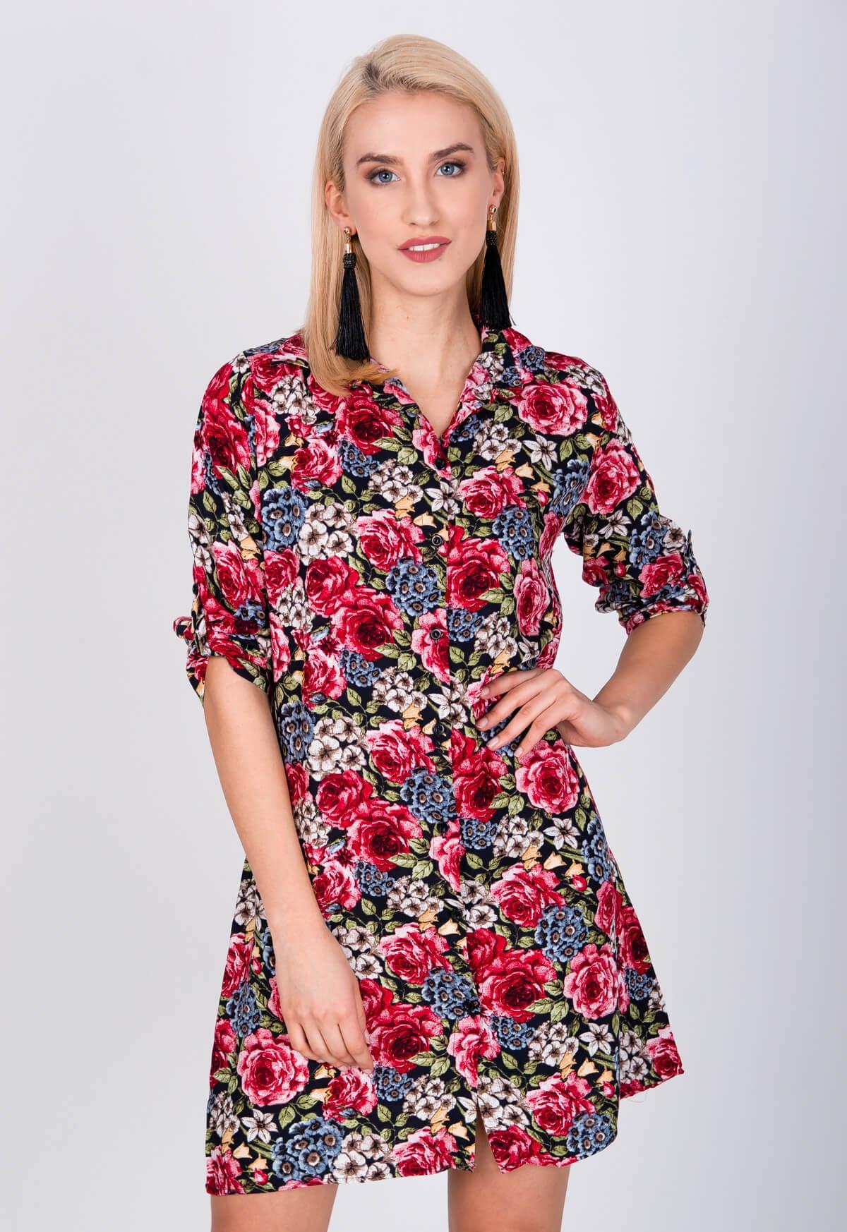 193b59a77e91 Dámské košilové šaty K34 - ZOiO červená