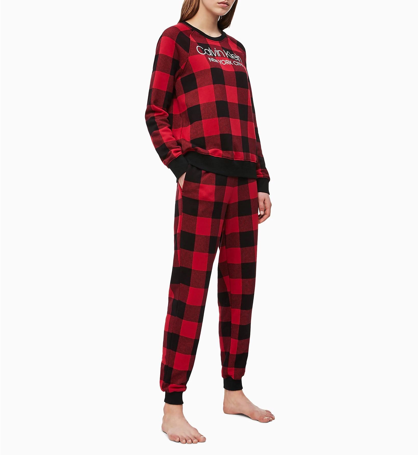 Dámské tepláky QS6302E-5VJ černočervená - Calvin Klein černo-červená M