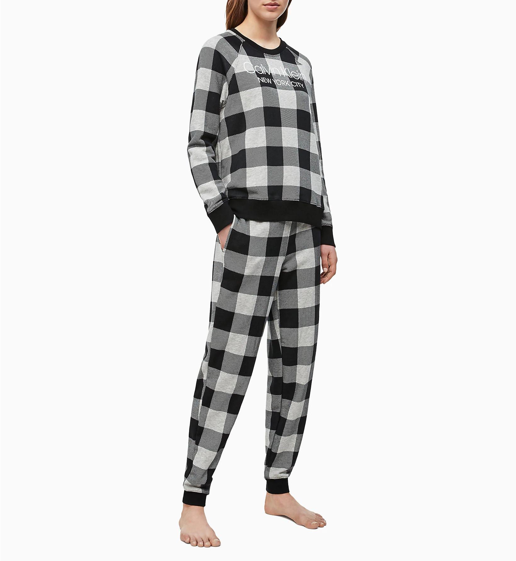 Dámské tepláky QS6302E-2ZJ šedočerná - Calvin Klein šedo - černá L