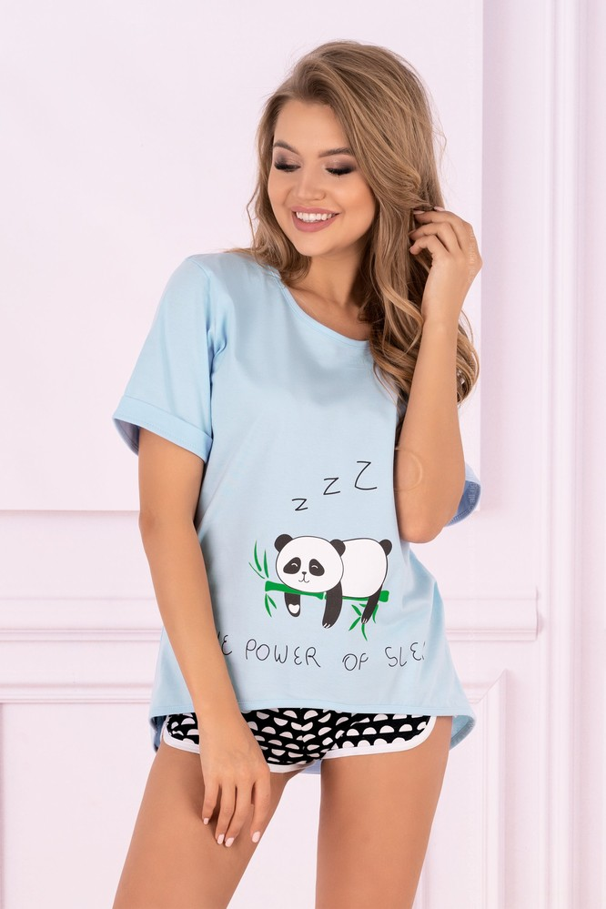 Dámské pyžamo Panda - LivCo Corsetti modro - černá S/M