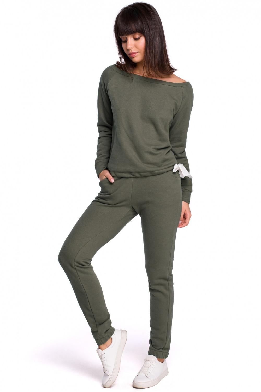 Dámské teplákové kalhoty B107 - BEwear olivovo zelená S-36