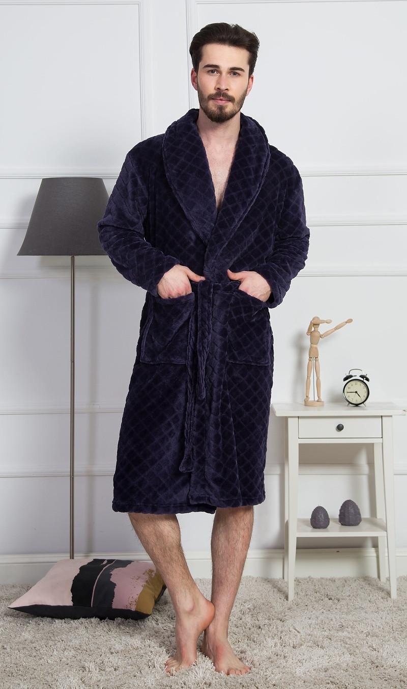 Pánský župan se šálovým límcem Dominik - Gazzaz tmavě modrá L