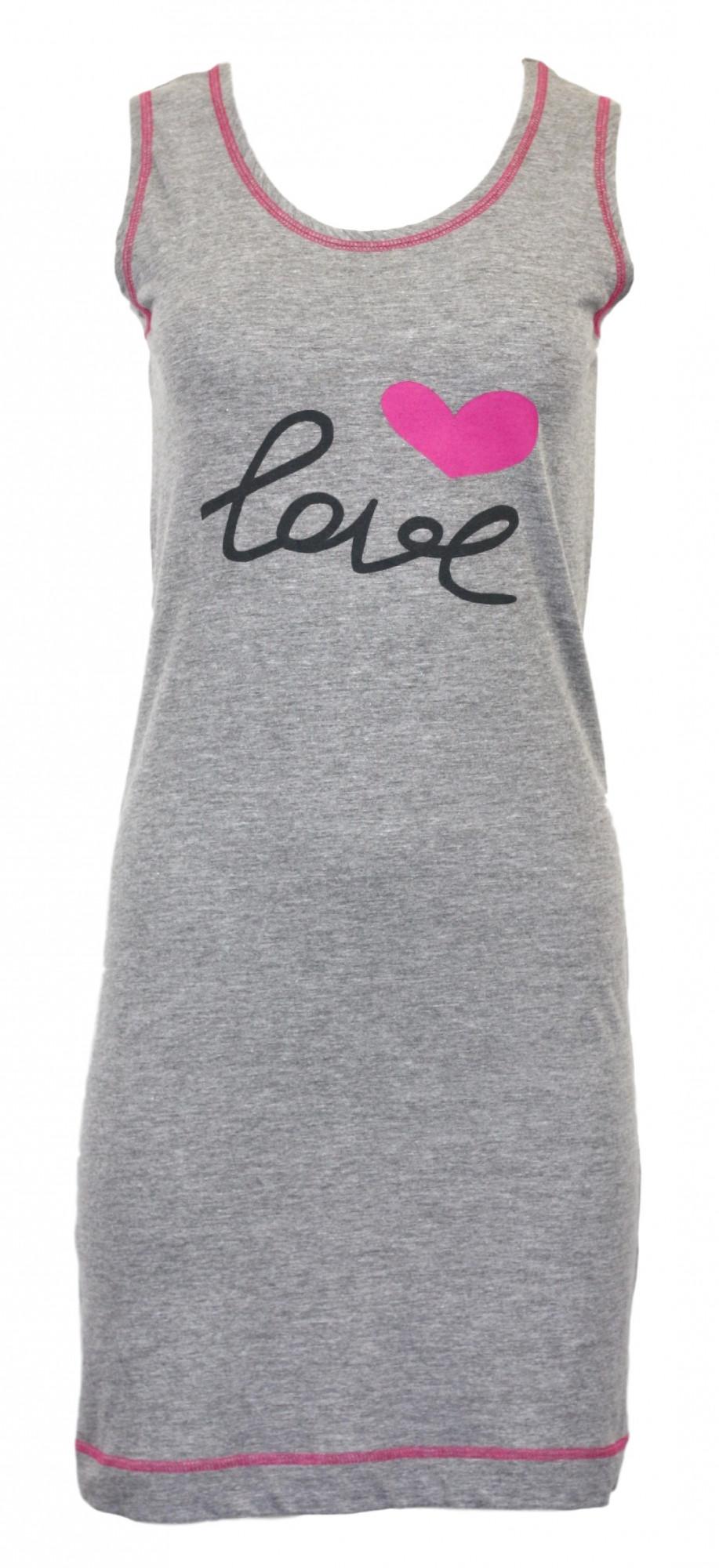 Dámská noční košilka Love - LaL Barva: šedo-růžová, Velikost: S