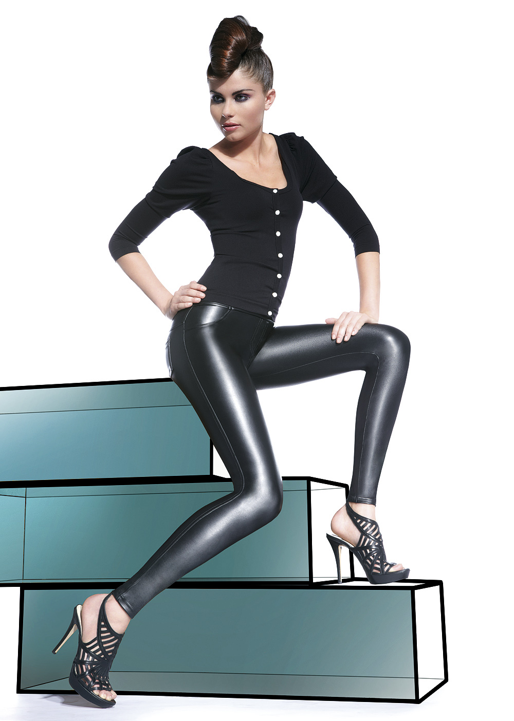 Legíny Vanessa - Bas Bleu barva: černá, velikost: L