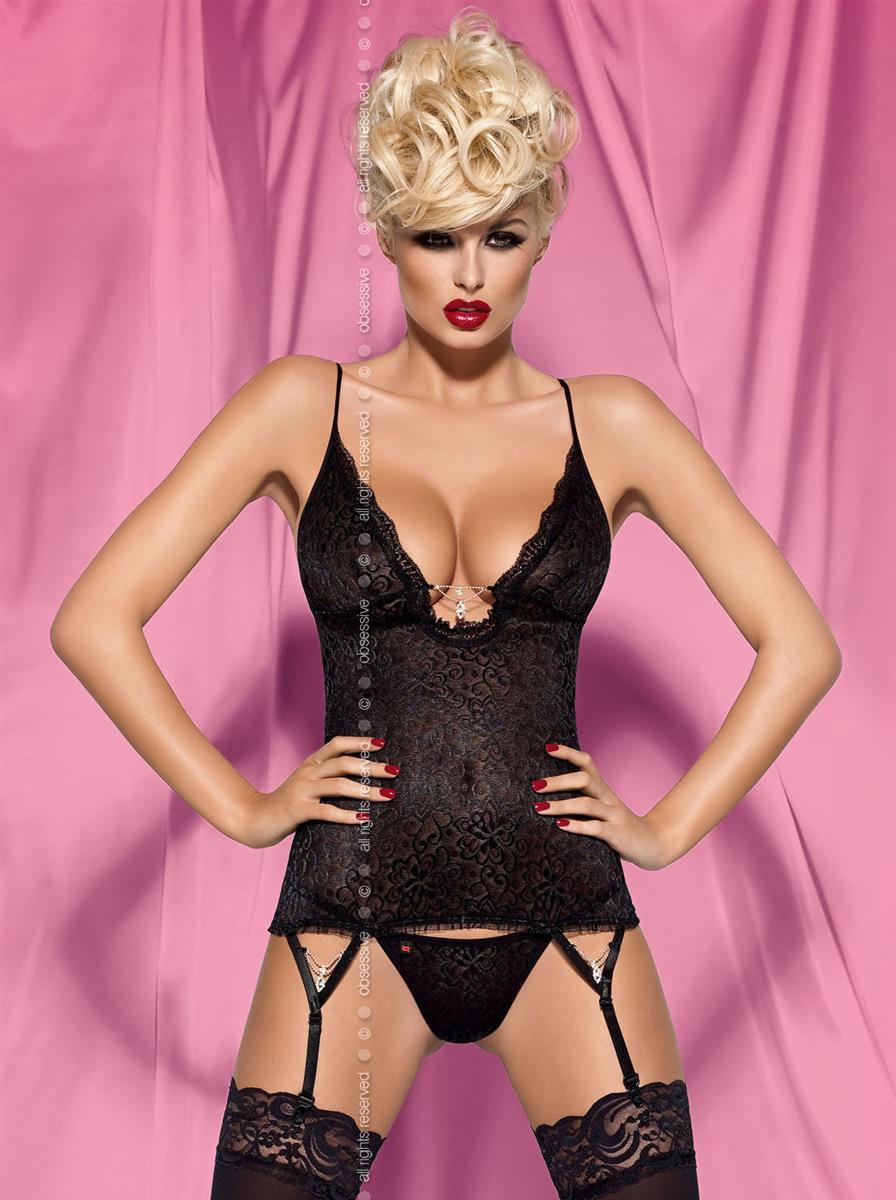 Korzet Diamond corset - Obsessive Barva: černá, Velikost: S/M