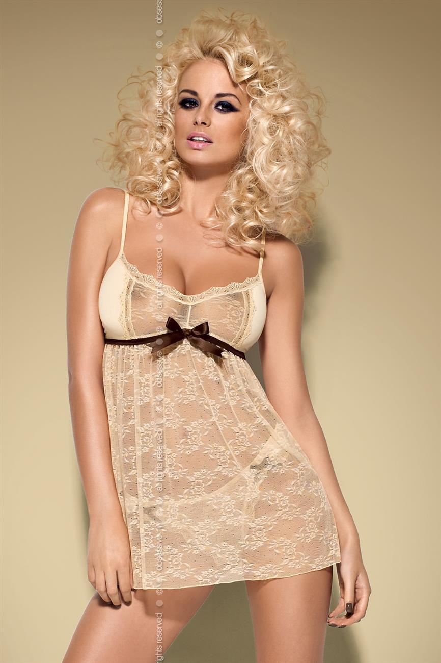 Košilka Caramella babydoll - Obsessive Barva: béžová, Velikost: L/XL