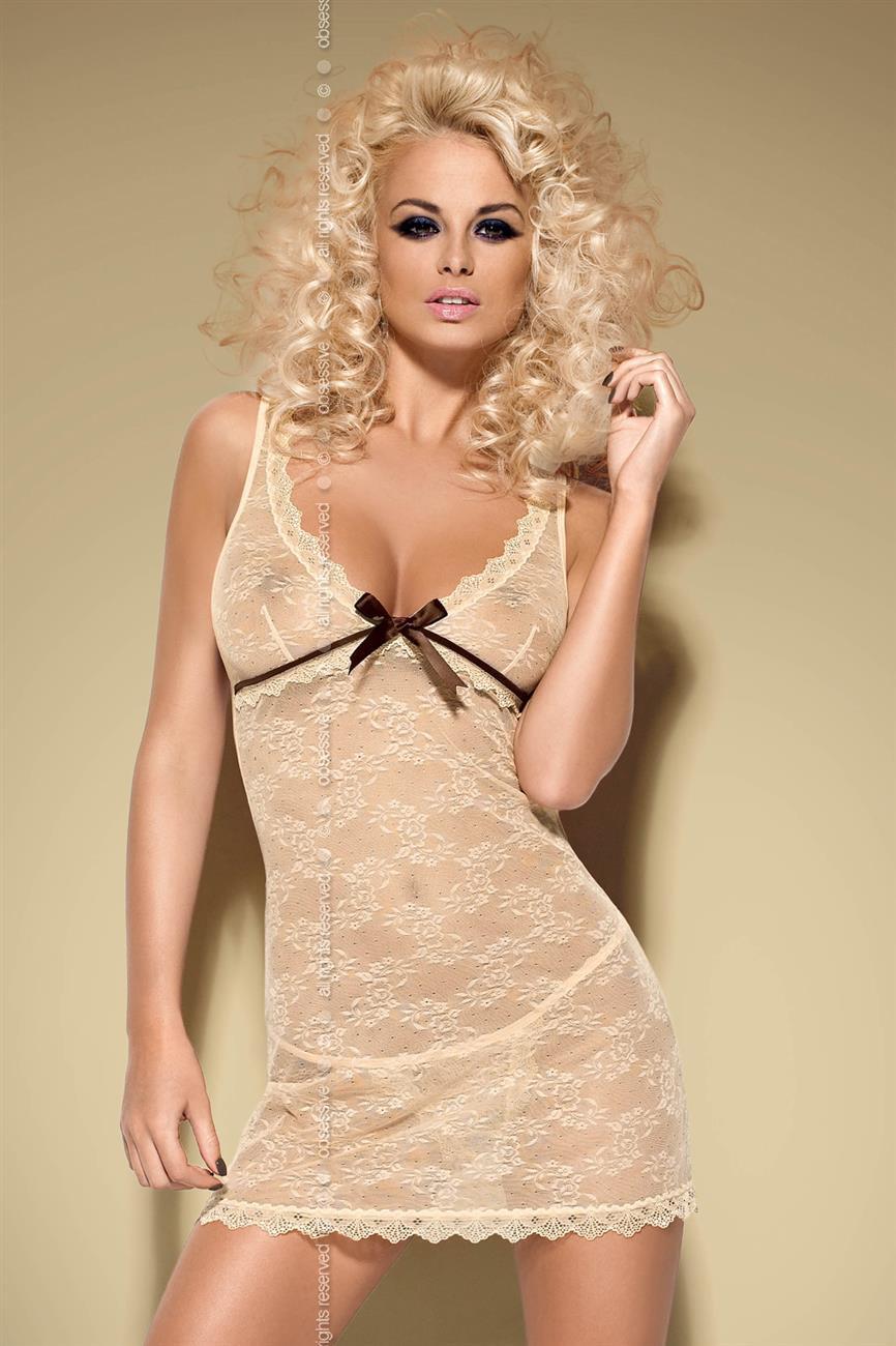 Košilka Caramella chemise - Obsessive Barva: béžová, Velikost: L/XL