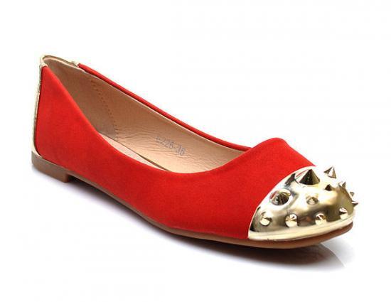 ORANŽOVÉ BALERÍNY S CVOKY E226 - Fashion Boty Barva: oranžová, Velikost: 41