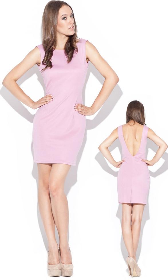 Dámské šaty růžové K025 - Katrus Barva: růžová, Velikost: M