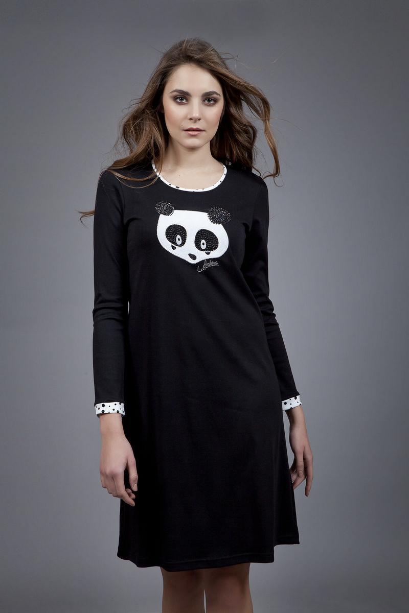 Dámská noční košile 1580 - Vamp Barva: černá, Velikost: L