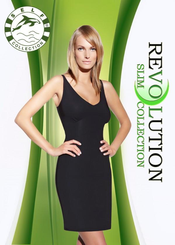 Zeštíhlující šaty F020 - Self Barva: černá, Velikost: L/XL