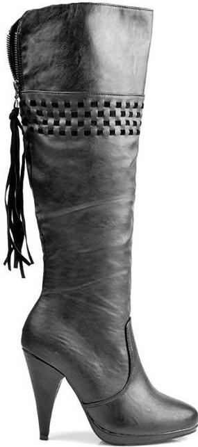 ČERNÉ KOZAČKY S TŘÁSNĚMI A355-55B Fashion Boty Barva: černá, Velikost: 38