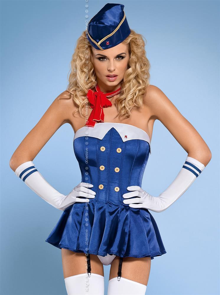 Sexy kostým Stewardess corset - Obsessive Barva: modrá, Velikost: L/XL