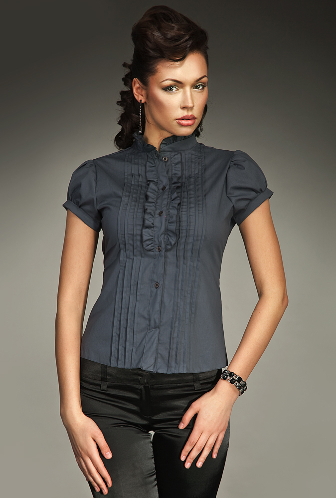 Dámská košile s krátkým rukávem K26 - Nife Barva: černá, Velikost: 36
