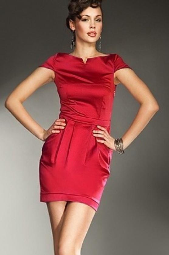 Dámské šaty s krátkým rukávem S10 - Nife Barva: červená, Velikost: 42