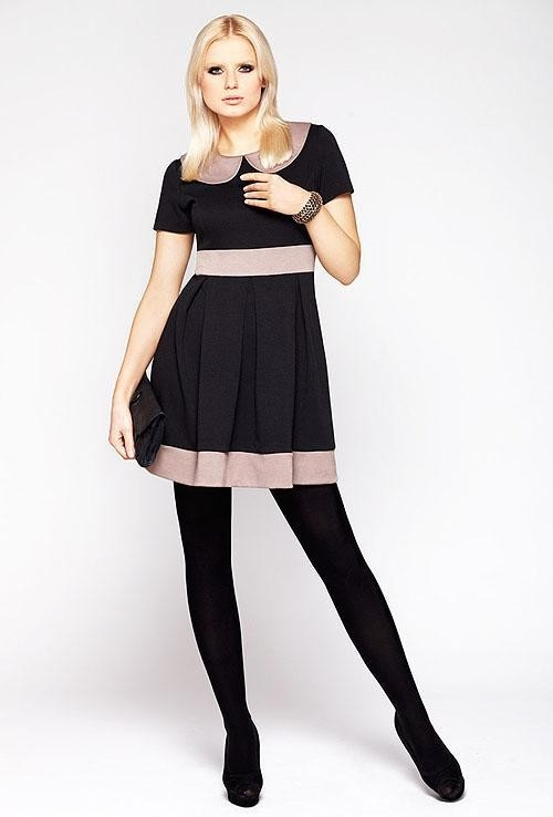 Dámské šaty M003 - La Aurora Barva: černo-béžová, Velikost: 38