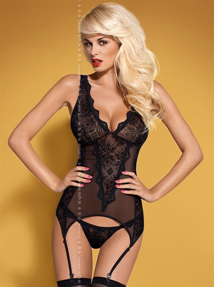 Korzet Emperita corset - Obsessive Barva: černá, Velikost: S/M