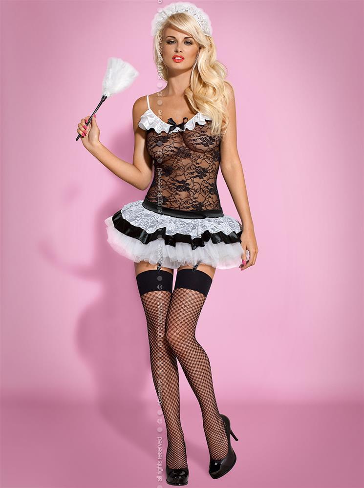 Sexy kostým Housemaid - Obsessive Barva: černá, Velikost: L/XL
