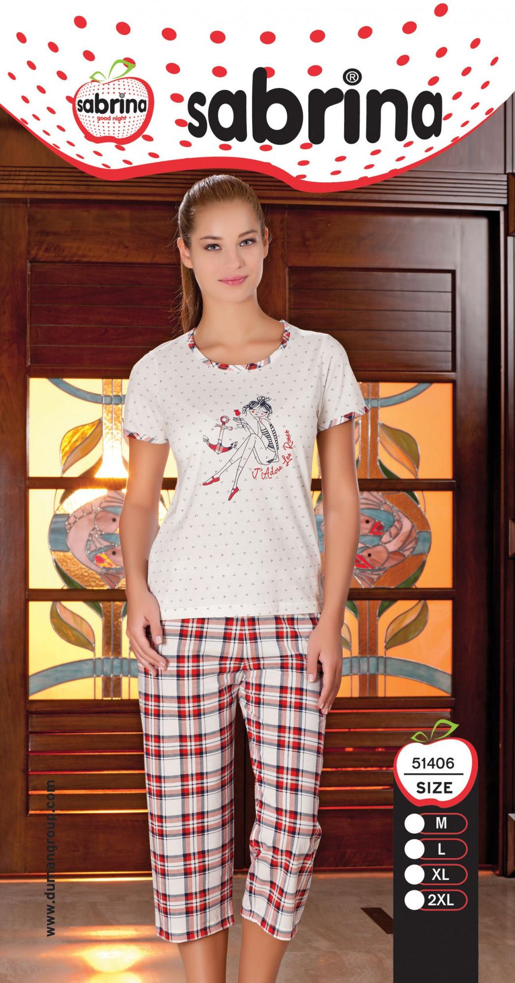 Dámské pyžamo 51406 Sabrina Barva: krémová, Velikost: 2XL