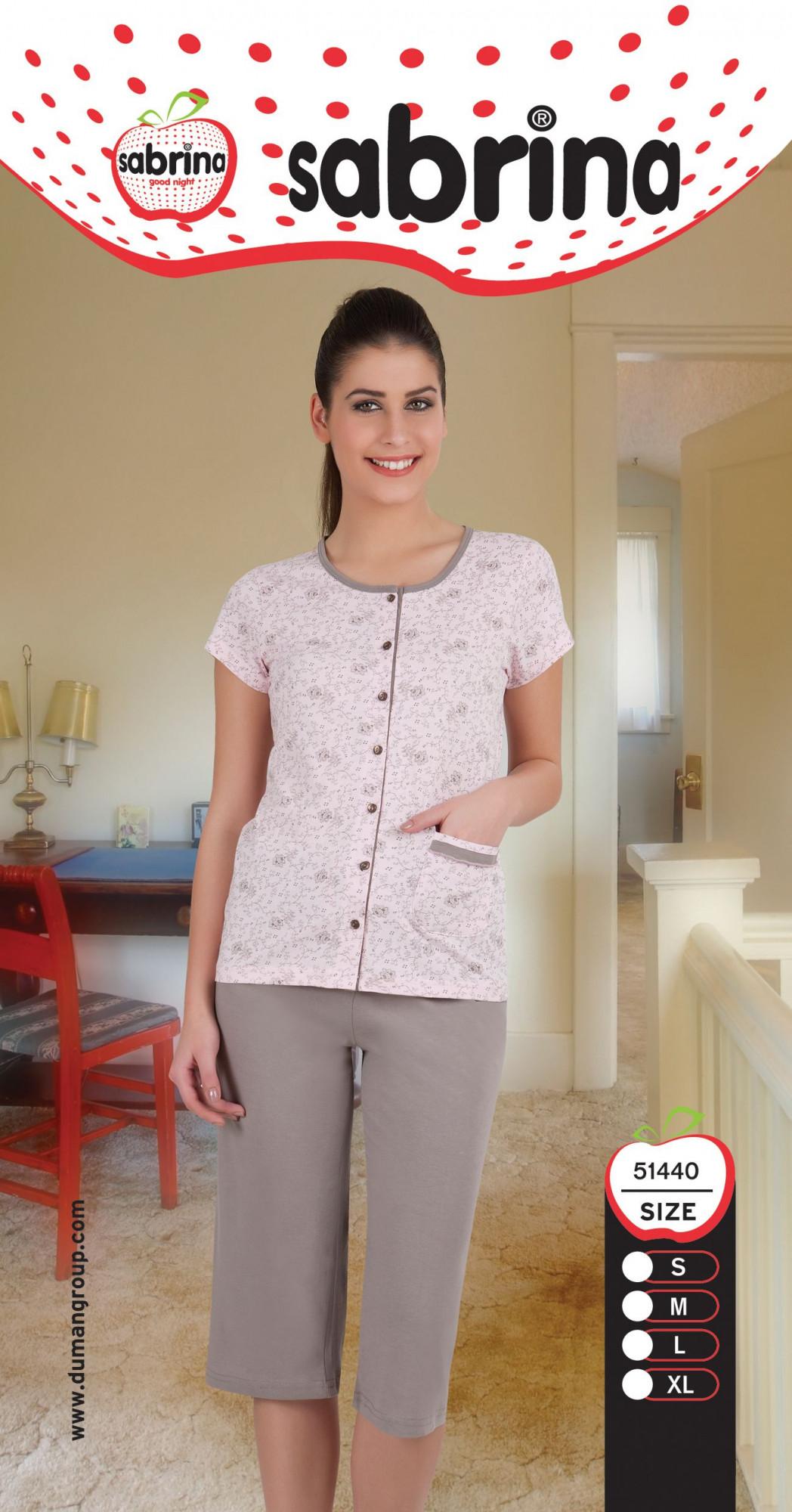 Dámské pyžamo 51440 Sabrina Barva: růžová - šedá, Velikost: S