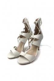 Bílé sandály na podpatku
