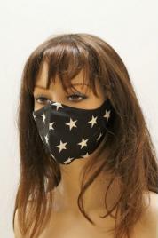 Bavlněná rouška černá, bílé hvězdy - Vestis