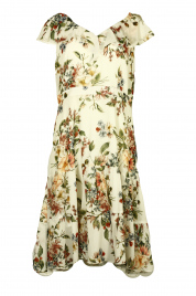 Dámské společenské květované  šaty s volánem - 0190M18 Wera