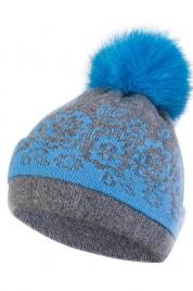Dámská čepice s bambulí KA-LES modrá