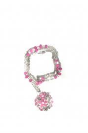 Dámský zdobený růžový náhrdelník  s květinkami - Gemini