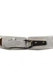 Dámsky pásek černý, šedý s kováním - Gemini