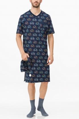 Pánská noční košile 11666-253 tmavě modrá - Vamp