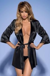Župan Satinia robe black - Obsessive