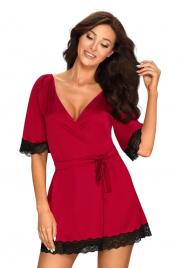 Elegantní župan Sensuelia peignoir red - Obsessive