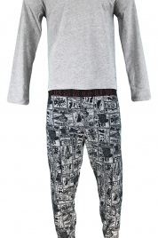 Pánské pyžamo U91X02 JR03O - L999 šedočerná - Guess