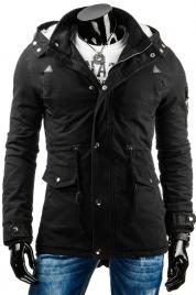 Pánská prošívaná zimní bunda s odnímatelnou kapucí