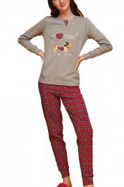 Dámské pyžamo FA6879PB šedočervená - Noidinotte