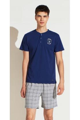 Pánský pyžamový set FC2120PB šedomodrá - Noidinotte